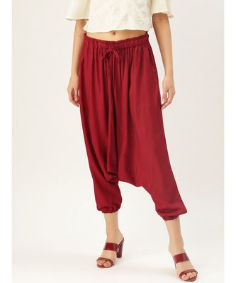 maroon plain cotton relaxed fit trouser pant