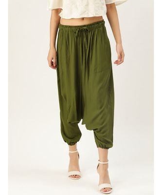 olive plain cotton relaxed fit trouser pant