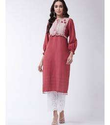 Red Printed Cotton Straight Kurti Set