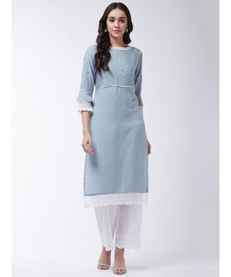 Blue Printed Cotton Straight Kurti Set