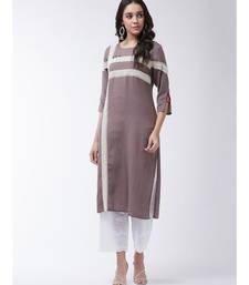 Brown Printed Cotton Straight Kurti Set