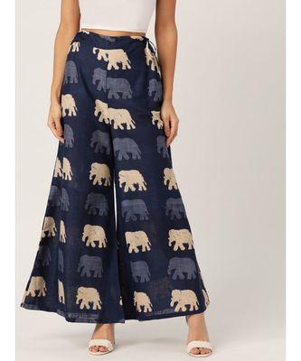 blue plain cotton relaxed fit trouser pant