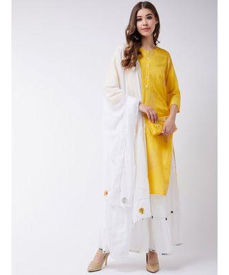 Yellow Printed Cotton A-Line Kurti Set
