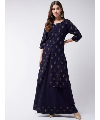 Blue Printed Cotton A-Line Kurti Set