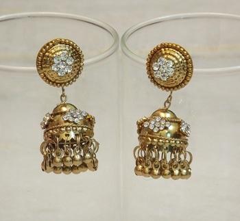 Beautiful light weight ethnic oxidised golden earring