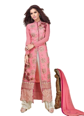 Pink Embroidered Georgette semi stitched sawlar with dupatta