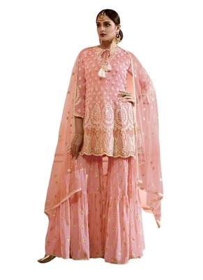Pink Embroidered Net semi stitched sawlar with dupatta