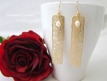 Top Quality Natural Freshwater Pearl 18K Gold Plated Artificial Fashion Earrings