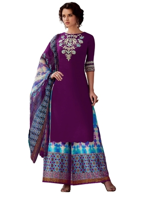 Purple Embroidered cotton semi stitched sawlar with dupatta