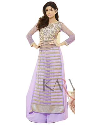 Purple Embroidered Net semi stitched sawlar with dupatta