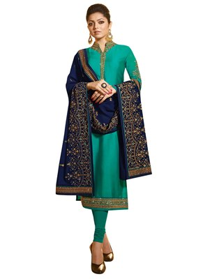 Turquoise Embroidered Georgette semi stitched sawlar with dupatta