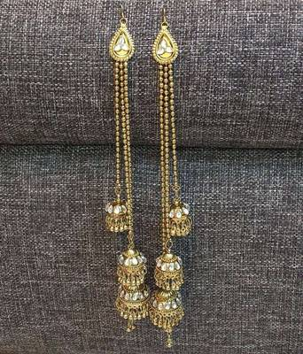 Three Jhumki Style Kundan Beads Kashmiri Long Earrings Worn In Many Way
