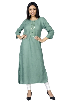 Green printed chanderi ethnic-kurtis