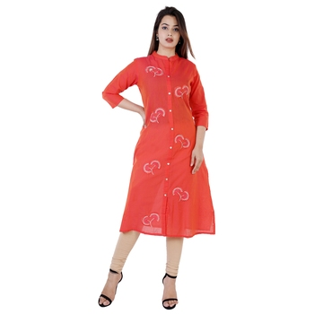 Red embroidered chanderi ethnic-kurtis