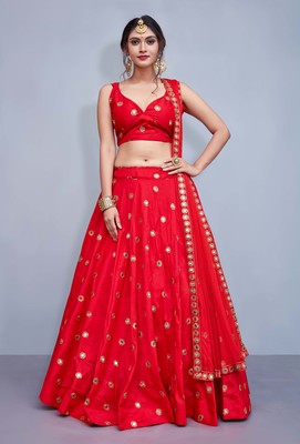 Red embroidered art silk semi stitched lehenga
