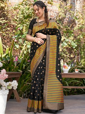 Black woven pochampally saree with blouse