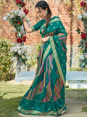 Turquoise woven pochampally saree with blouse