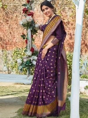 Purple woven pochampally saree with blouse