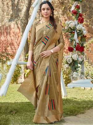 Beige woven pochampally saree with blouse