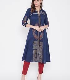 Dark blue printed cotton kurtas-and-kurtis