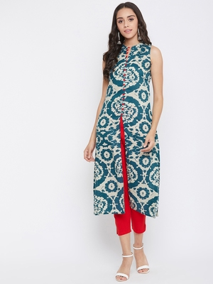 Dark blue printed rayon kurtas-and-kurtis
