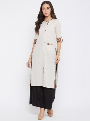 Beige self design cotton kurtas-and-kurtis