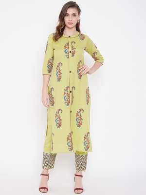 Light yellow printed cotton kurtas-and-kurtis