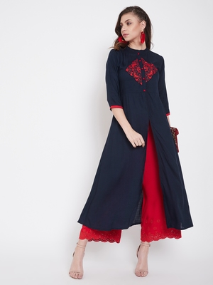 Navy blue embroidered rayon kurtas-and-kurtis