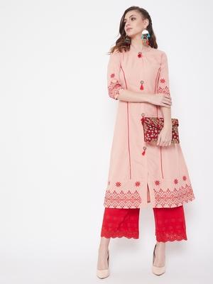 Peach embroidered cotton kurtas-and-kurtis