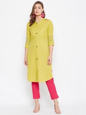 Light yellow embroidered cotton kurtas-and-kurtis