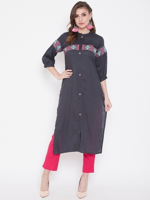 Grey embroidered rayon kurtas-and-kurtis