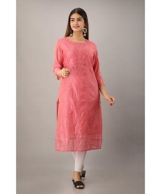 Women's  Peach Chanderi & Cotton Embroidered Straight Kurta