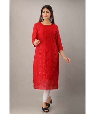 Women's  Red Chanderi & Cotton Embroidered Straight Kurta