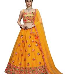 Yellow Buterfly Net Chiffon Thread Embroidered Lehenga Choli