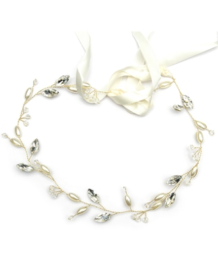 Beautiful 1 Pc White and Golden Bridal Flower Hair Accessory/ HeadPiece for Women and Girls