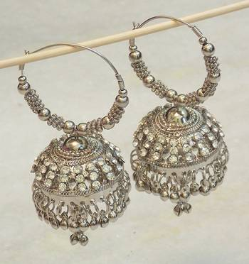 Beautiful light weight ethnic oxidised silver earring