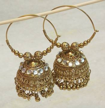 Beautiful light weight ethnic oxidised golden earring jhumki
