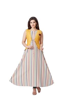 pretty women Yellow Linen 3/4th Sleeves Striped Print Women's Kurti