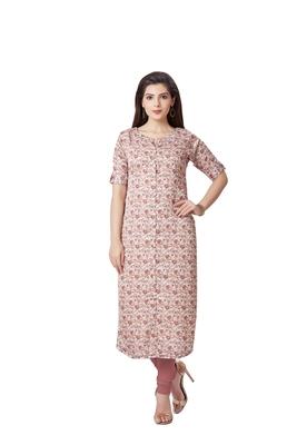 pretty women Beige Modal Half Sleeves Floweral Digital Printed Women's kurta