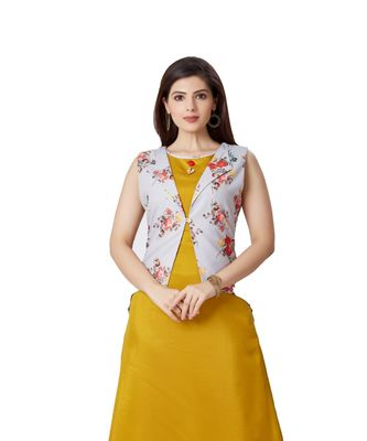 pretty women Yellow Linen 3/4th Sleeves Striped Print Women's Kurti