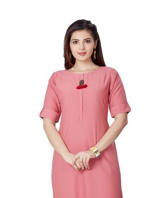 pretty women Peach Viscose Half Sleeves Solid Women's kurta