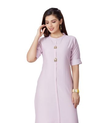 pretty women Sky Viscose Half Sleeves Solid Women's kurta