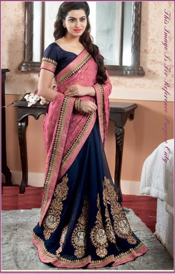 249ba7c20 Stylish Navy blue and pink color branded designer saree - Try n Get ...