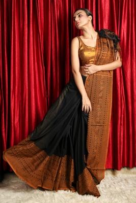 Black woven organza  saree with blouse