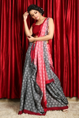 Grey  woven pure cotton saree with blouse