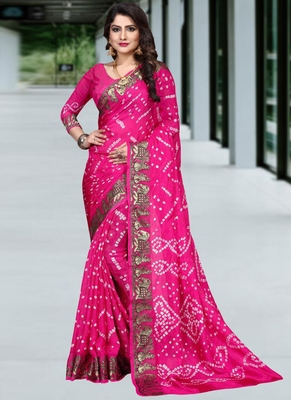 Rani pink woven chiffon saree with blouse