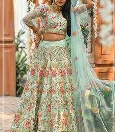 Sea-green thread embroidery silk semi stitched lehenga