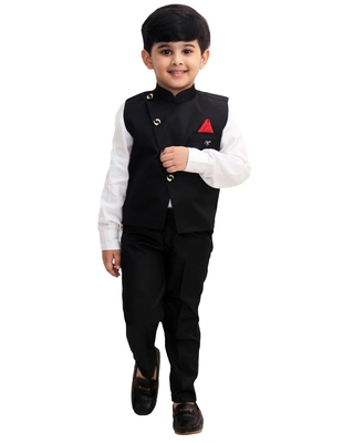 Black plain cotton silk boys-suit