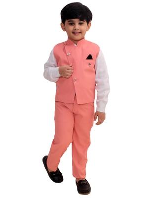 Pink plain cotton silk boys-suit