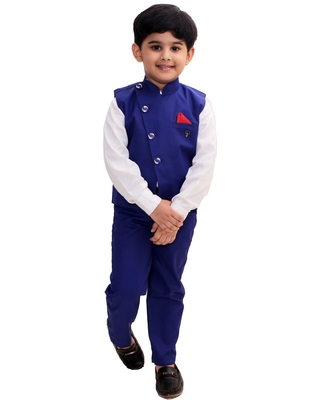 Blue plain cotton silk boys-suit